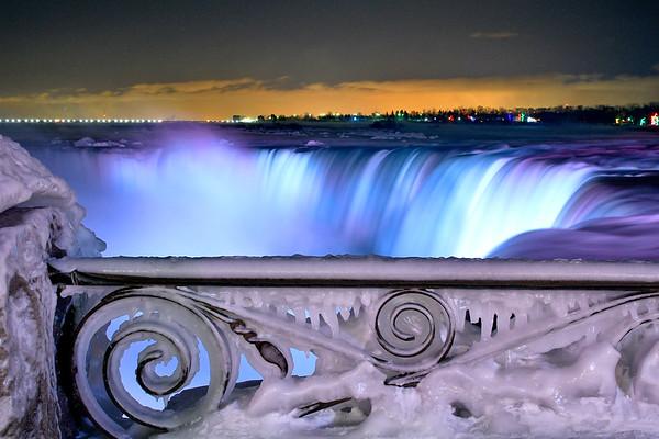 Frozen Niagara Falls under the night lights - January 2020