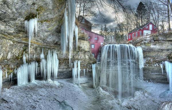 Frozen Decew Falls at Morningstar Mills January