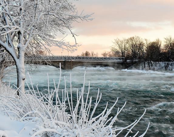 Goat Island Bridge on cold day Jan 2011 - 11X14