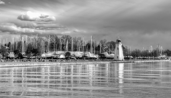 Portside with Lighthouse B&W
