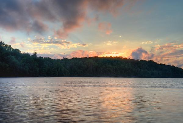 Fiery Sunset over Island