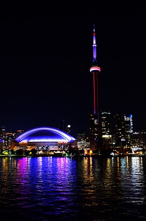 CN Tower and Skydome at night