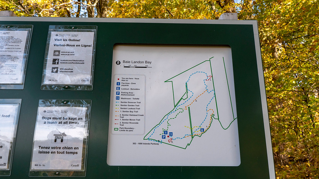 Map of the Thousand Islands National Park hiking at Landon Bay