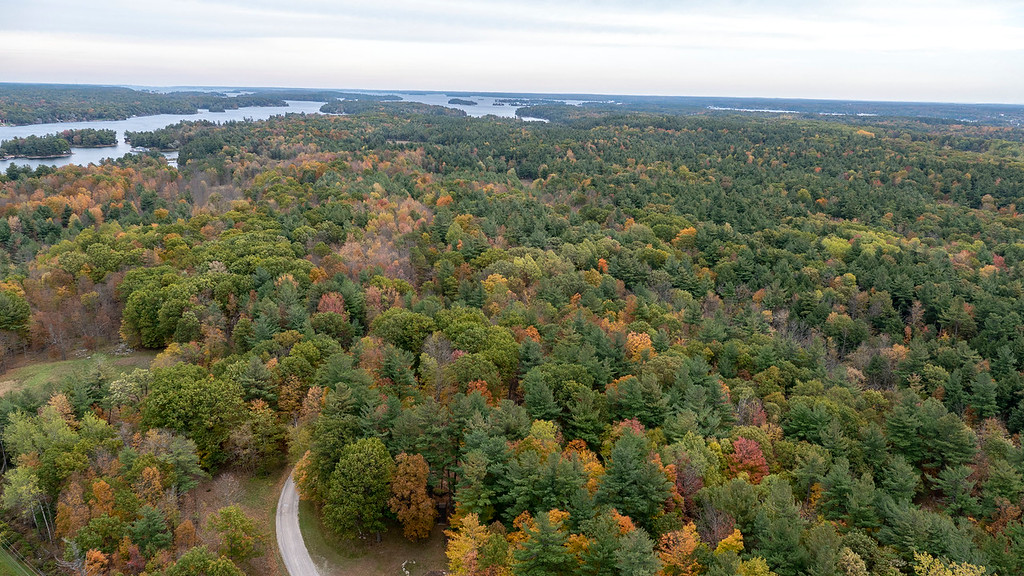 Thousand Islands Ontario from up above in the fall