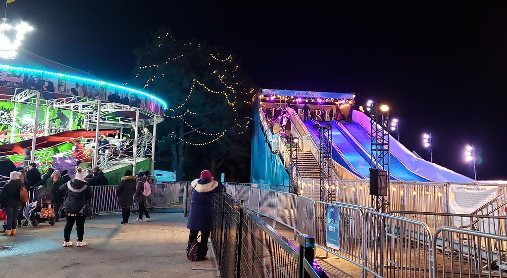 Sledding at the Aurora Winter Festival in Toronto
