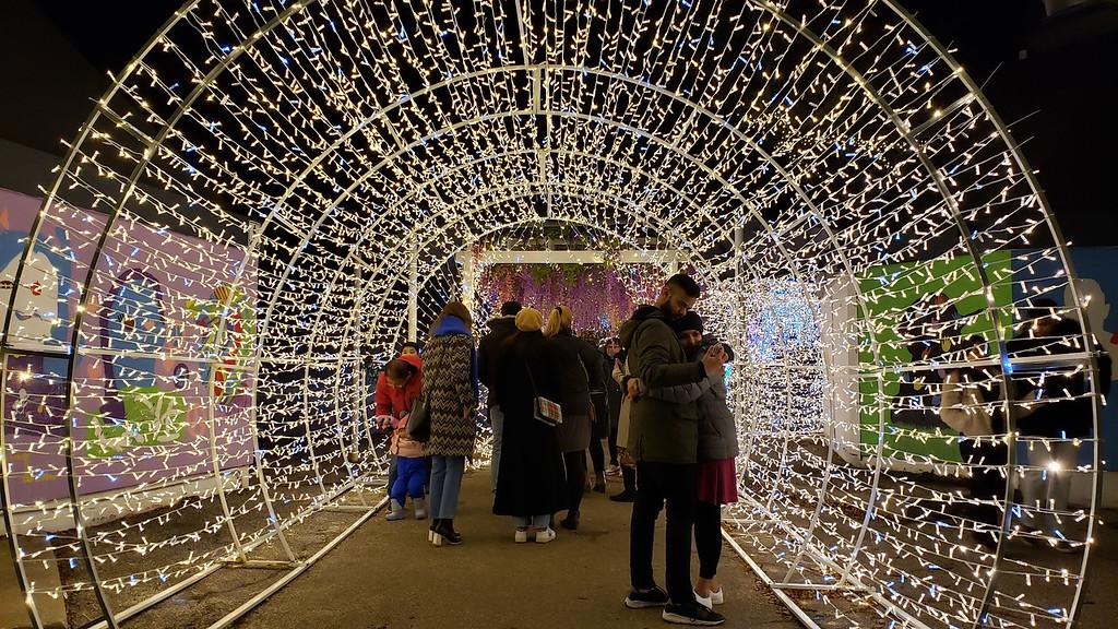 Christmas light tunnel at the Aurora Winter Festival