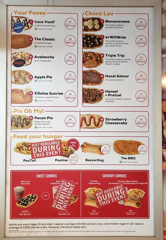 Beavertails menu with vegan options