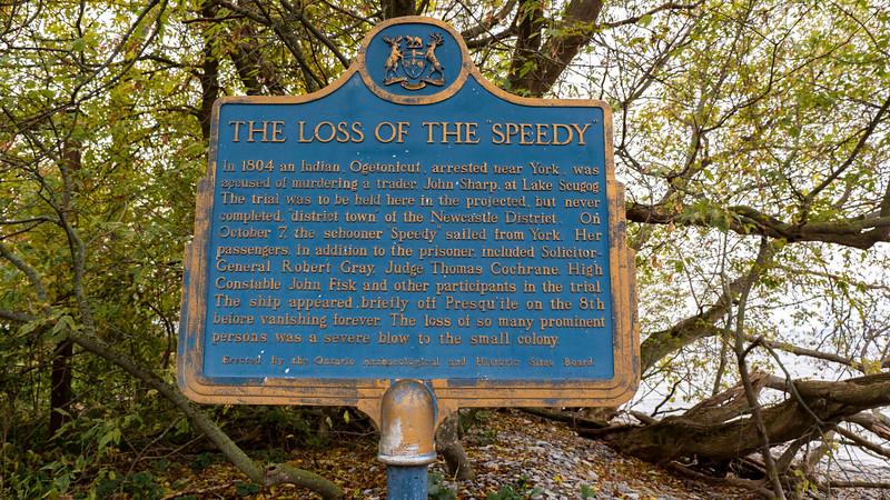 The loss of the Speedy, Presqu'ile Provincial Park