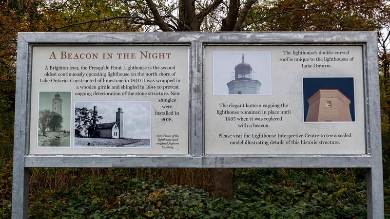 Presqu'ile Point Lighthouse Sign