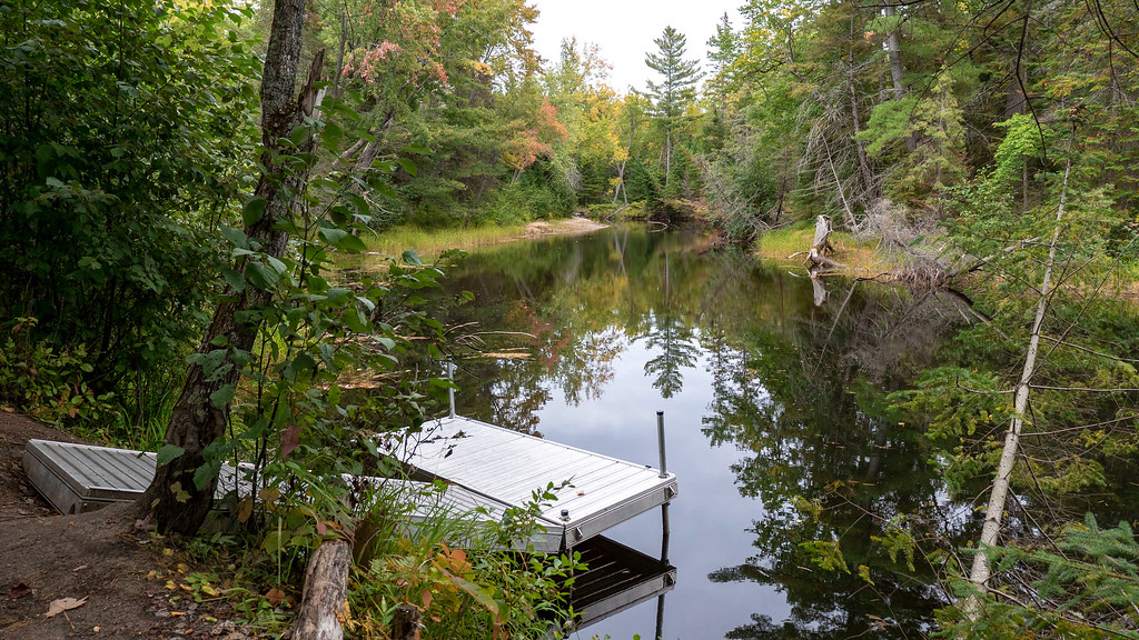Dock at our rustic cabin at Bonnechere Provincial Park to go canoeing