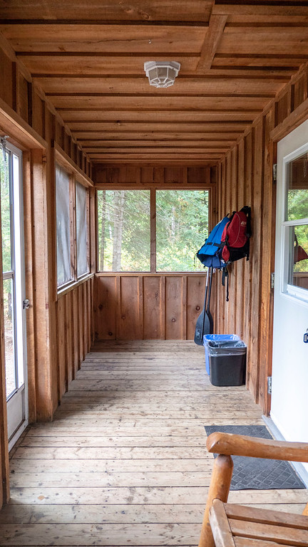 Porch of the rustic cabin at Bonnechere Provincial Park