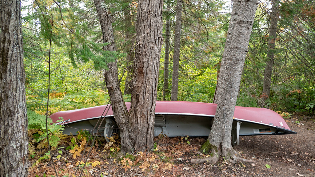 Canoe at the rustic cabin at Bonnechere Provincial Park