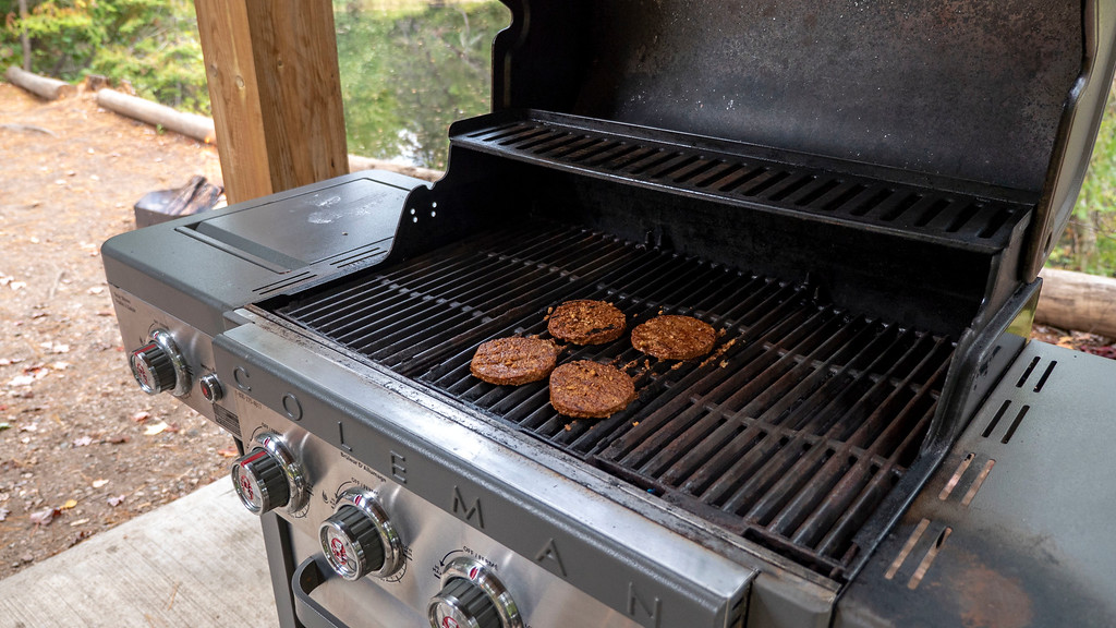 Veggie burgers on the BBQ at Bonnechere Park