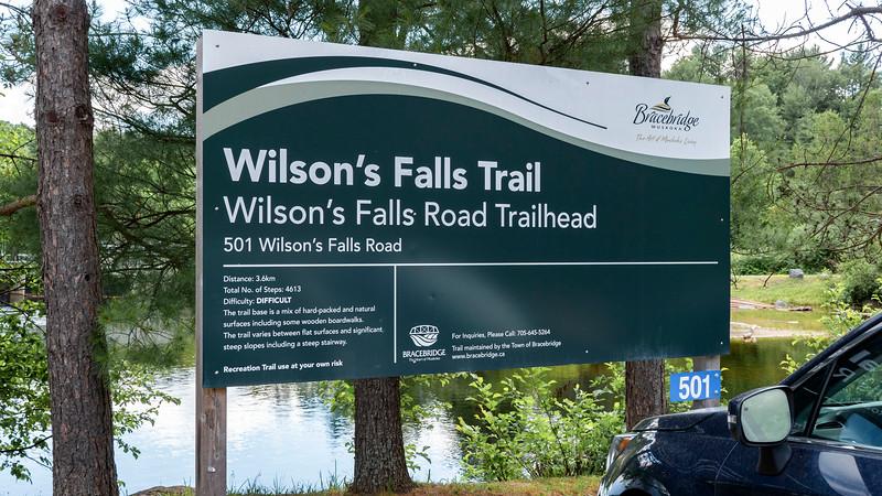 Wilson's Falls Trails trailhead sign