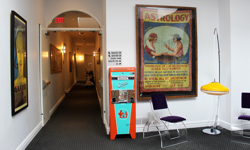Collectibles and antiques in the hallways of the Retro Suites Hotel
