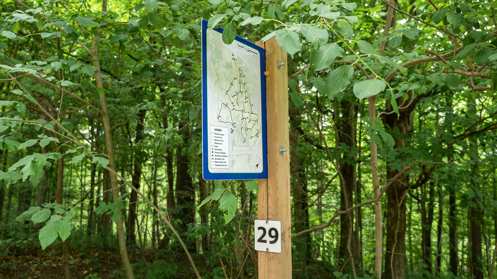 Claireville Conservation Area trail map - numbers marking the paths on these hiking trails in Brampton