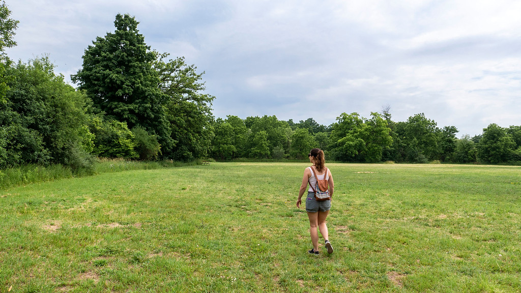 Woman walking across a field
