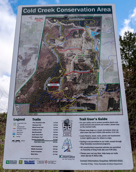 Hiking trails at Cold Creek Conservation Area