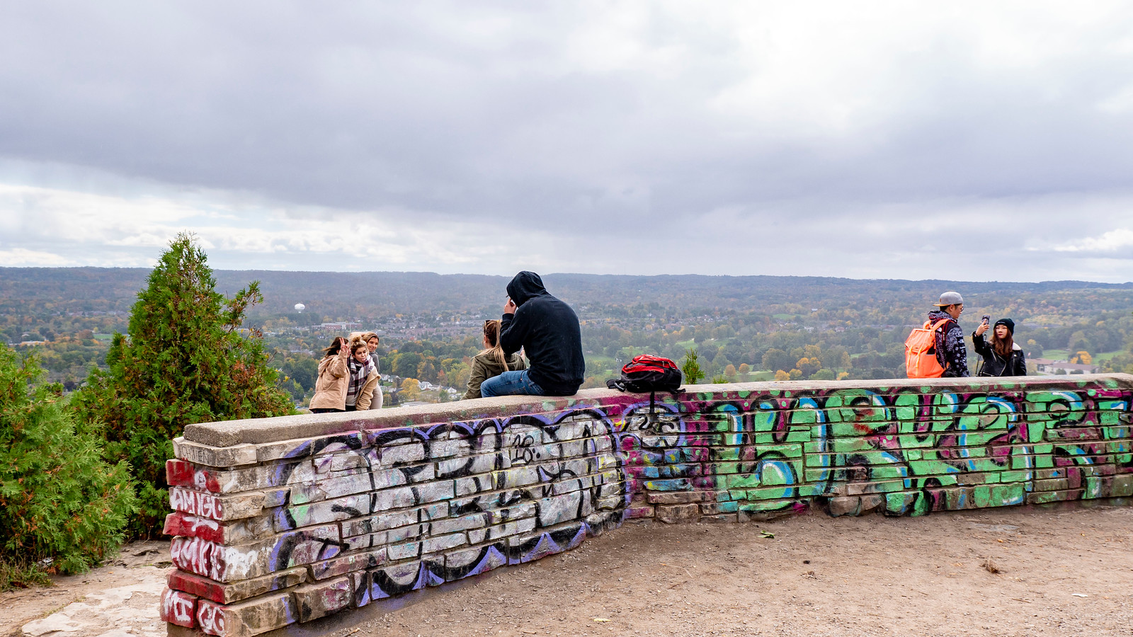 The Dundas Peak lookout wall covered in graffiti