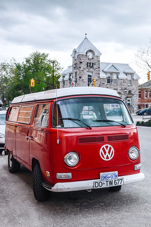 Volkswagen camper van (Westfalia) parked in the village of Elora, Ontario, Canada.