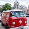 Volkswagen camper van (Westfalia) parked in the village of Elora, Ontario, Canada.