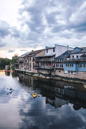 Buildings by the river in the town of Elora, Ontario.