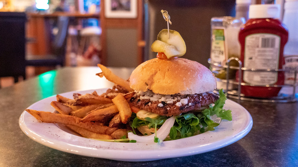 Vegan Beyond Burger at Dave's Pub and Grill at Oakwood Resort in Grand Bend