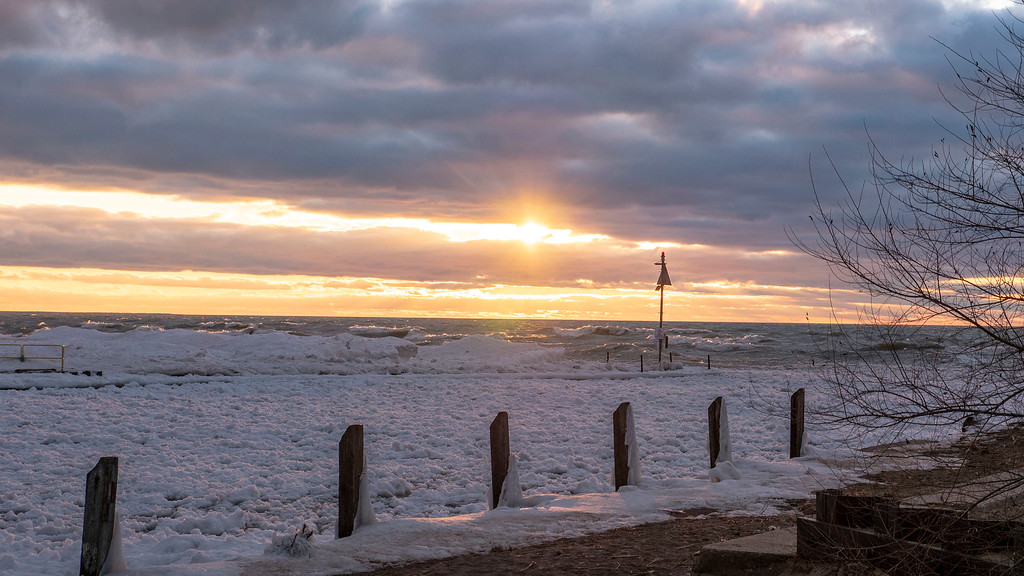 Winter sunsets in Grand Bend Ontario - Lake Huron winter sunset
