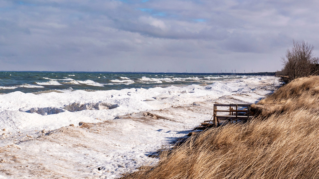 Beach areas and sand dunes in the winter at Pinery Provincial Park on Lake Huron