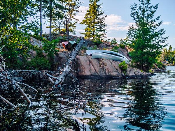 Canoe in Killarney Provincial Park, Ontario