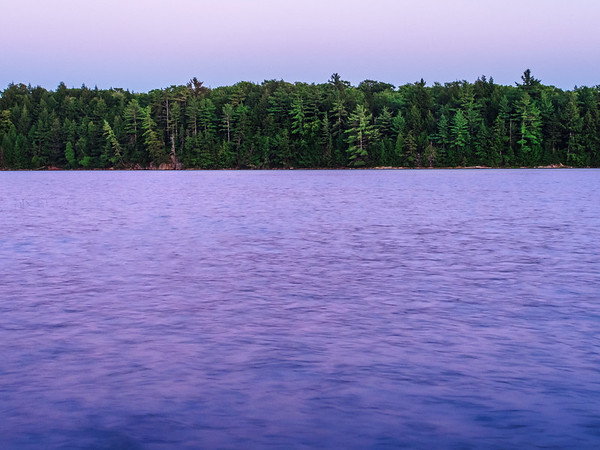 Dusk over lake and forest at Killarney Provincial Park in Ontario, Canada