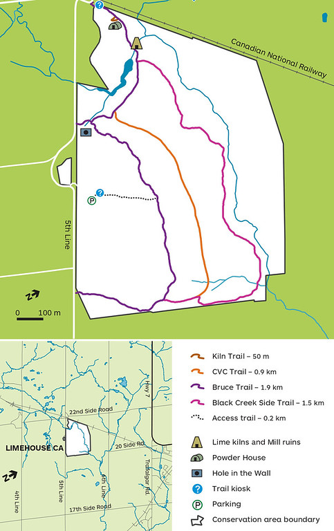 Limestone Conservation Area Map - Hiking trail map