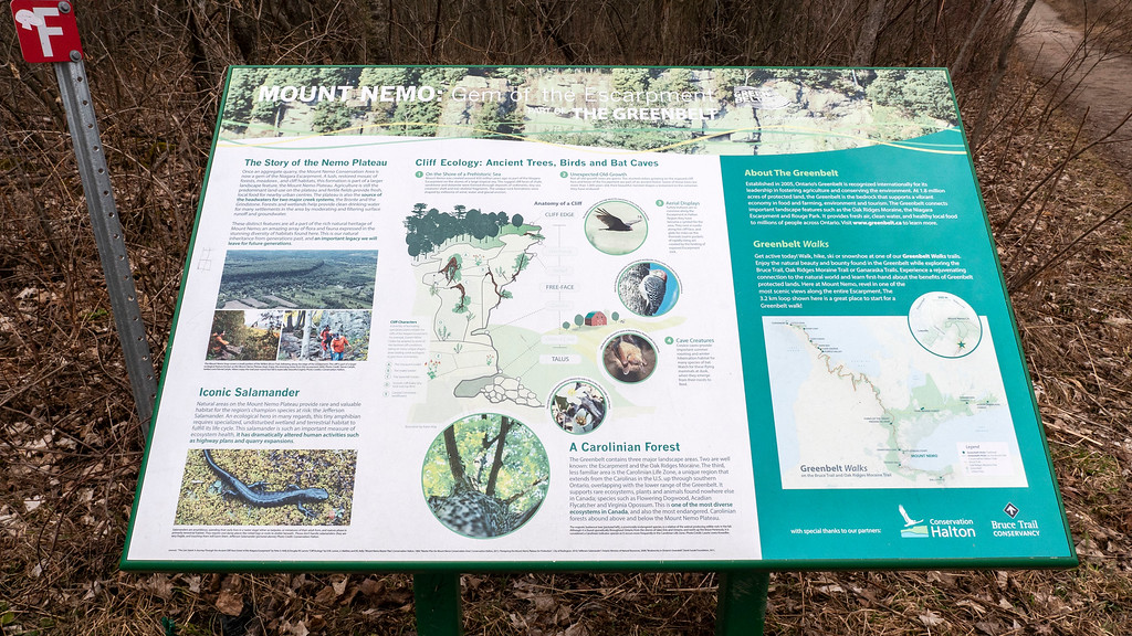 The Greenbelt - Sign about the Nemo Plateau and the Ecology of the Region - Ontario Hiking