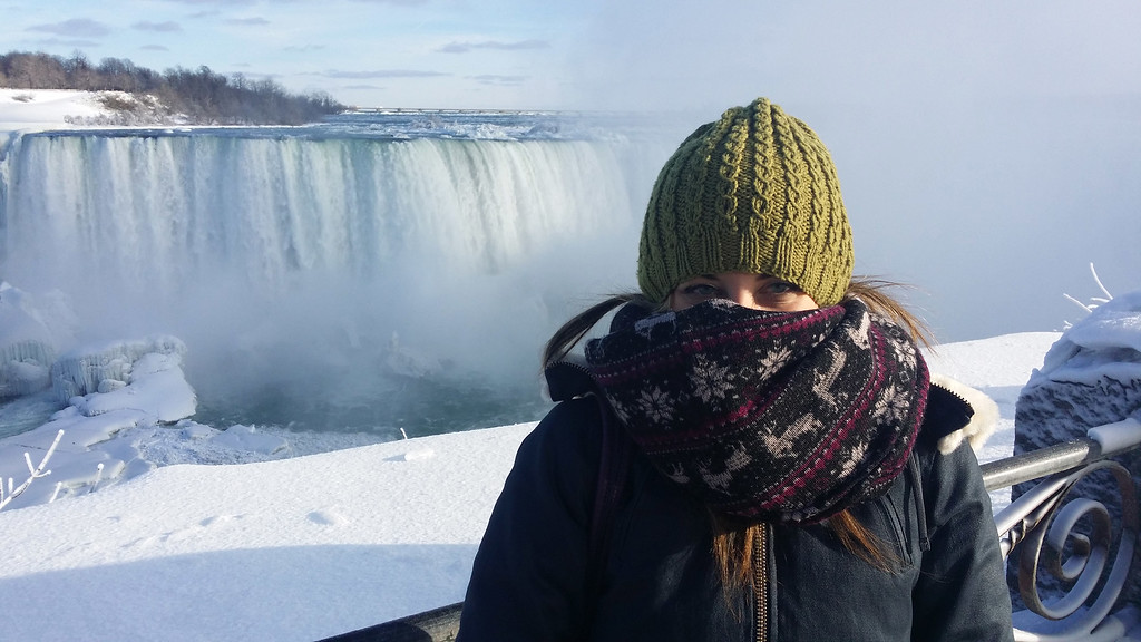 Wear layers and warm clothing to Niagara Falls during the winter, especially January and February, the coldest months