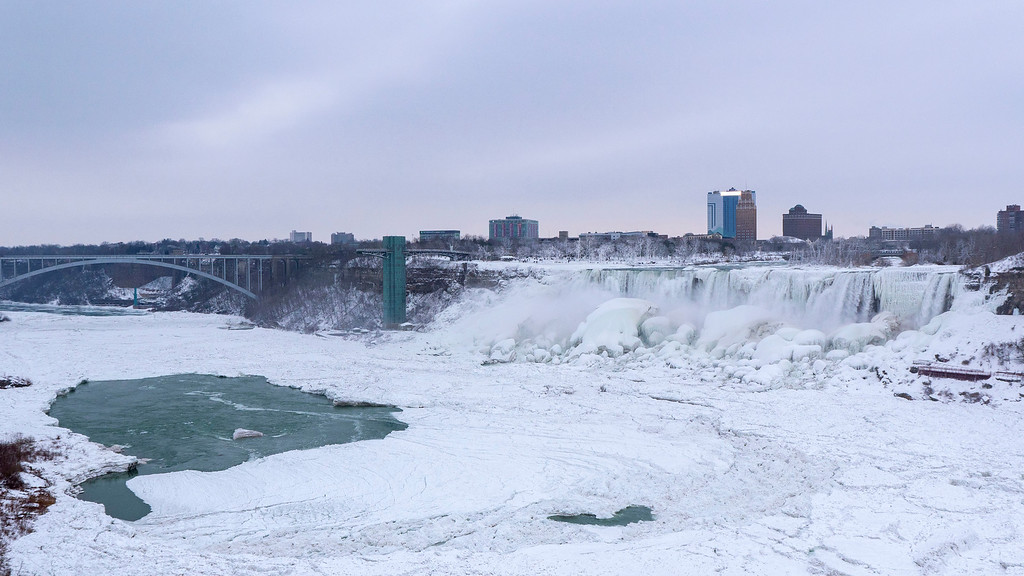 Frozen Niagara Falls - The American Falls / US Falls in the winter