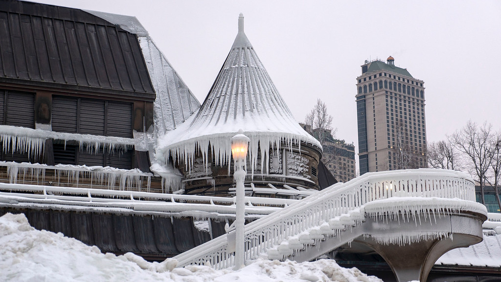 Niagara Falls Winter - Surrounding buildings covered in ice and icicles