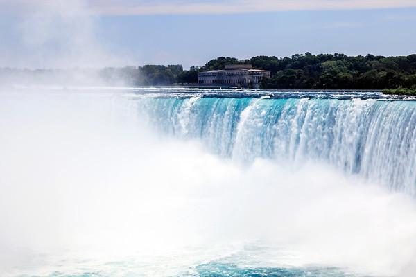 Water flowing over the falls in Niagara Falls