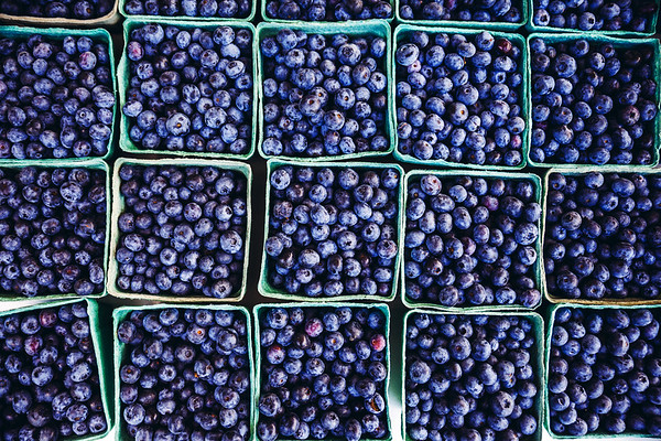 Blueberry baskets at a food market in the Niagara Region