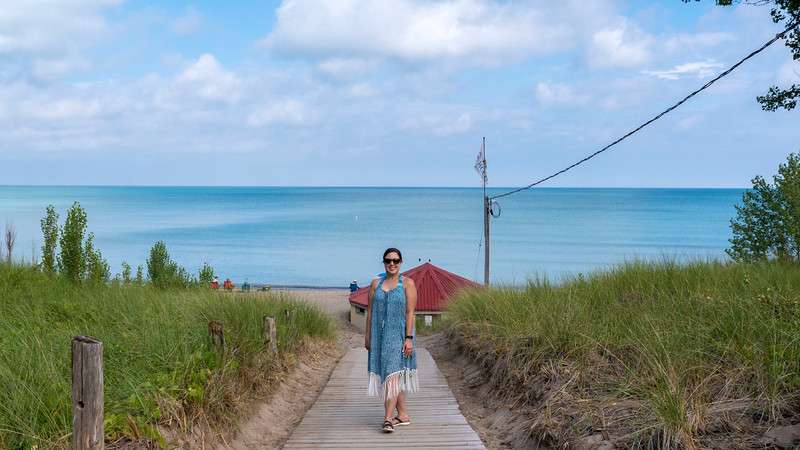Private entrance to the beach in Grand Bend from Oakwood Resort.