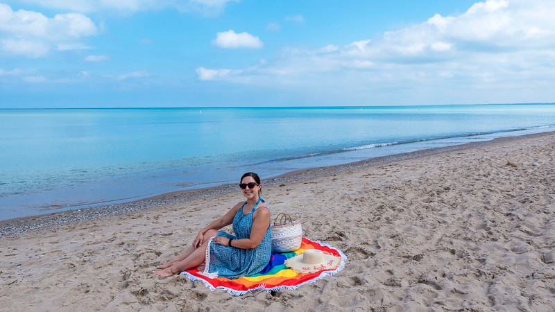 Caribbean blue waters at Grand Bend, Ontario. Blue flag beach at Ontario's Blue Coast. Grand Bend, Ontario, Canada.
