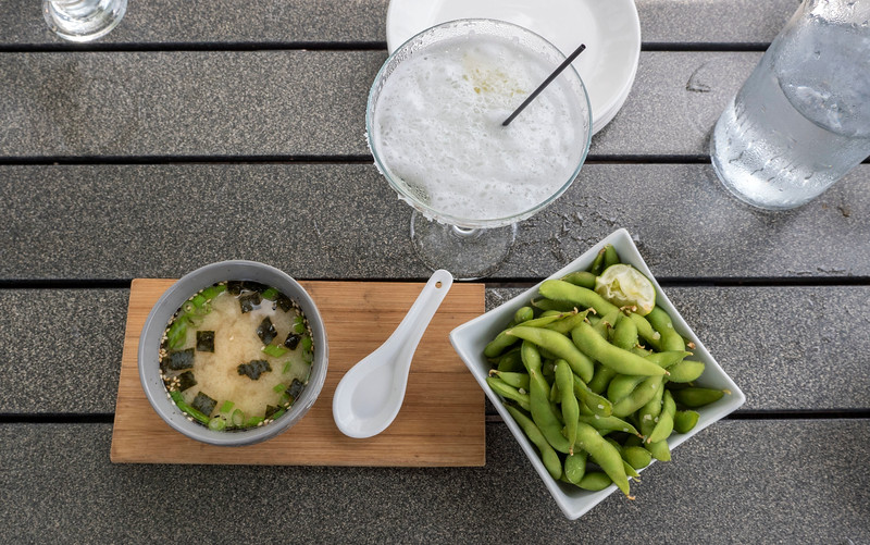 Miso soup, edamame, margarita at Midori Sushi in Grand Bend, Ontario.. Vegan options.