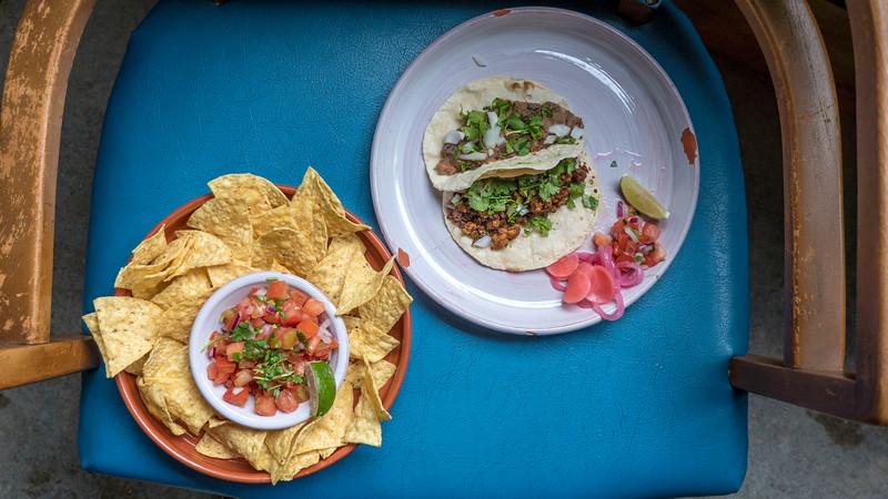 Vegan eats at Mexico in Sarnia. Nacho chips, pico de gallo, vegan tacos.
