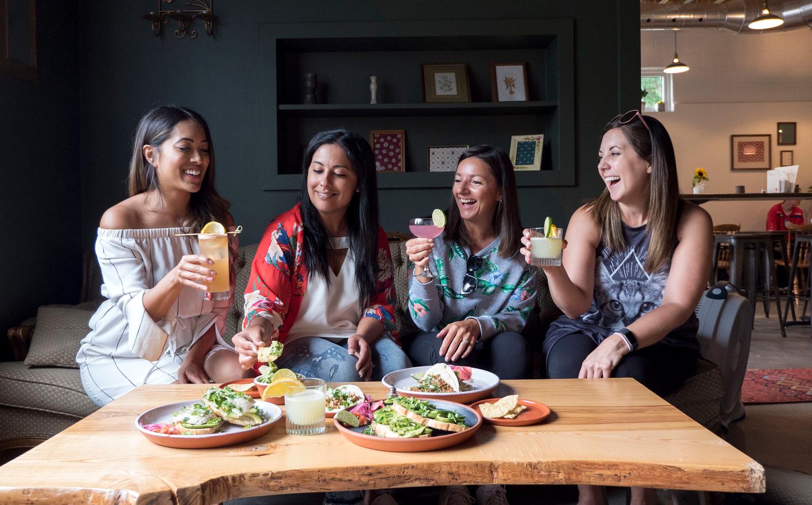Travel blogging ladies dining at Cafe Mexico in Sarnia, Ontario, Canada.