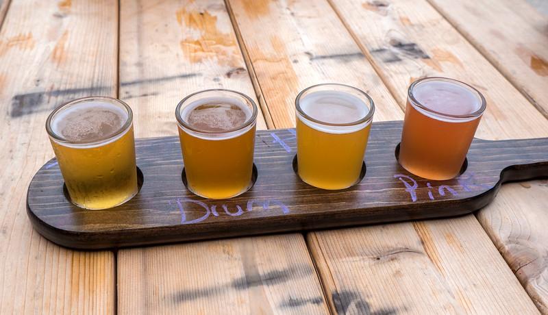 Beer flight at Refined Fool Brewing Co in Sarnia, Ontario, Canada.