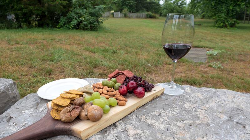 Alton Farms Estate Winery. Wine and vegan charcuterie board. Ontario's newest emerging wine region. Plympton-Wyoming, Ontario.