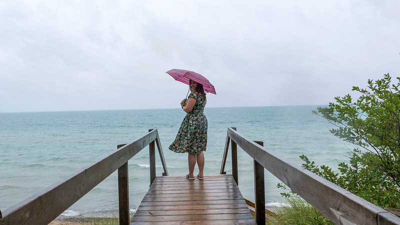 Pinery Provincial Park boardwalk to Lake Huron on a rainy day.