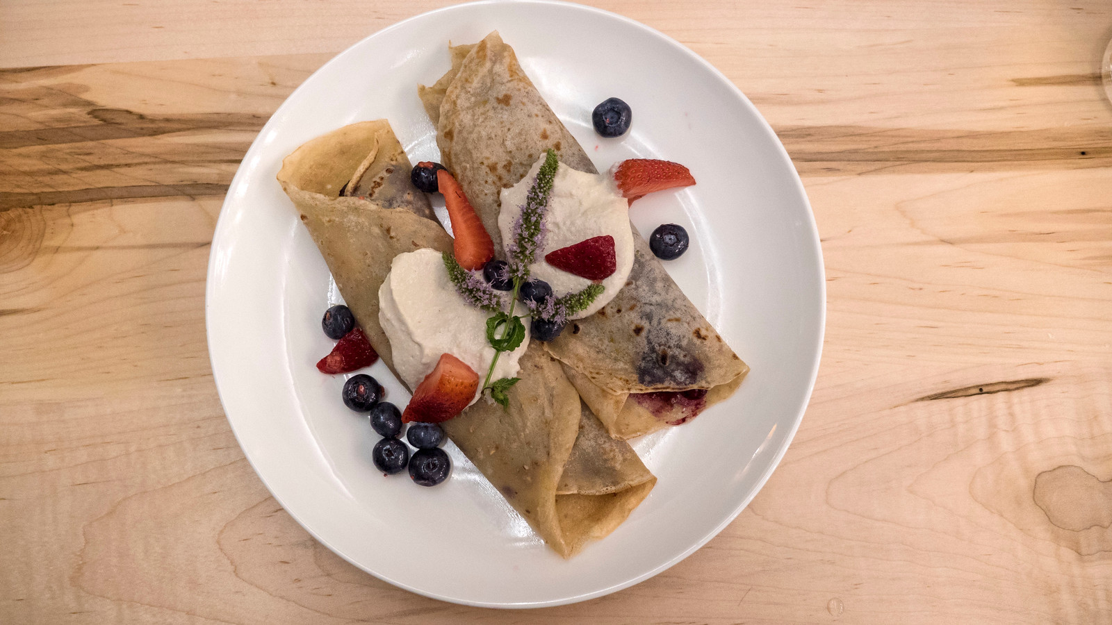 Tasty and beautiful vegan crepe at Barrel Bistro. Grand Bend Vegan and Vegetarian Restaurant Guide.