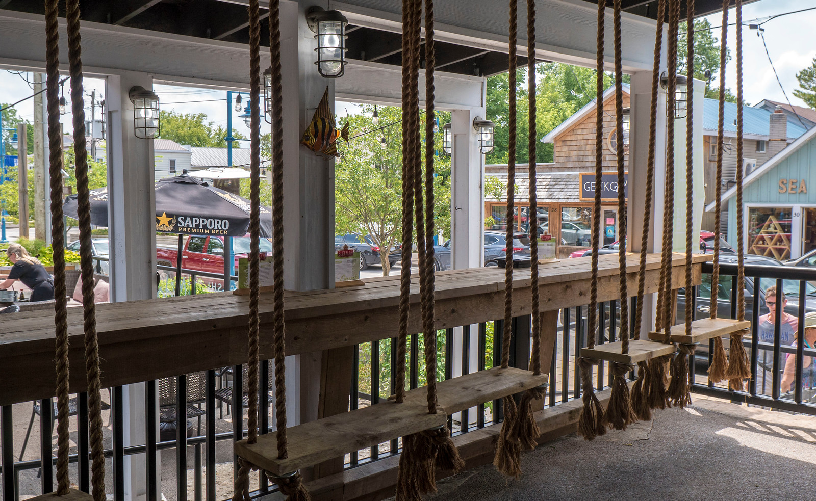 Swings at Midori Sushi. Grand Bend Vegan and Vegetarian Restaurant Guide