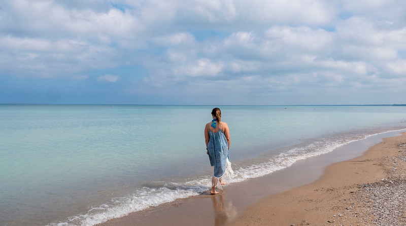 Grand Bend Beach. Stunning turquoise waters. Sandy beach in Grand Bend, Ontario.