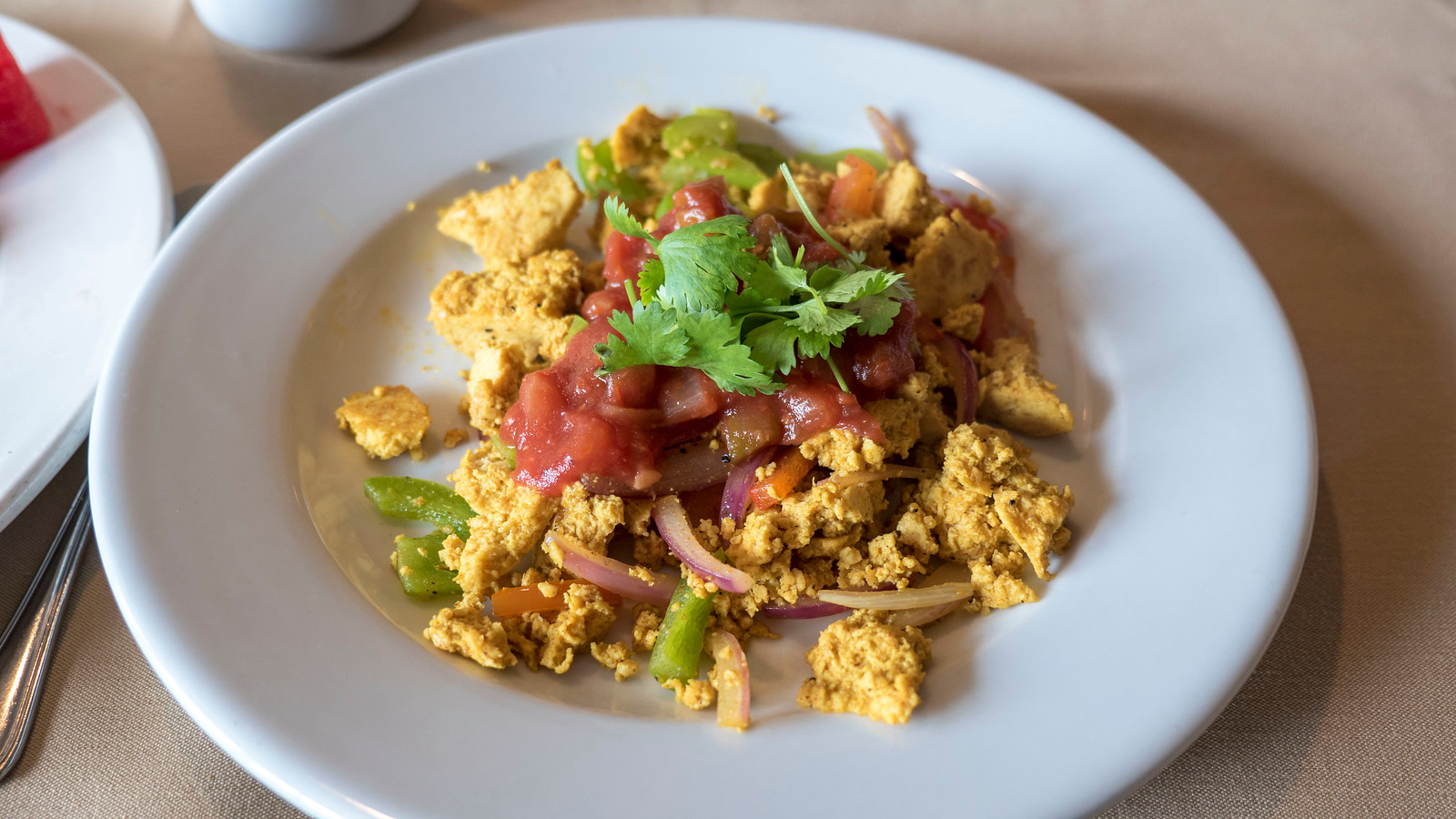 Tofu scramble at Oakwood Resort. Grand Bend Vegan and Vegetarian Restaurant Guide.